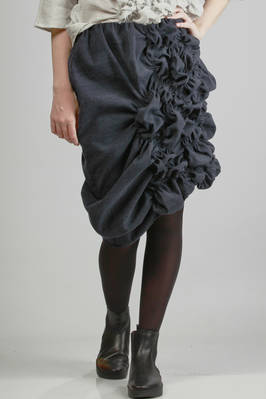 knee-length skirt in silk and linen moleskin  - 331