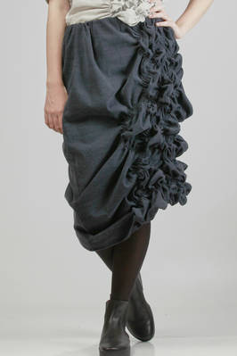 longuette skirt in silk and linen moleskin  - 331