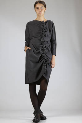 longuette dress in cotton, wool and polyamide melange cloth  - 331