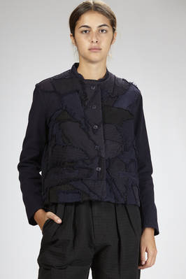men jacket in striped cotton velvet and cotton, silk and linen patchwork with tone on tone effect  - 293