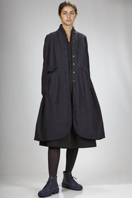 overcoat/robe-manteau in cotton, wool and nylon cloth with horizontal lines  - 293
