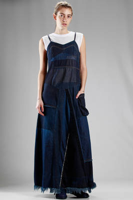 long dress in cotton denim patchwork  - 121