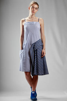 calf length dress in cotton poplin and cupro with shirt pattern  - 121