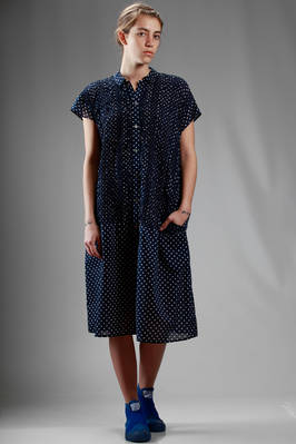 longuette dress in light cotton cloth with polka dot pattern  - 121
