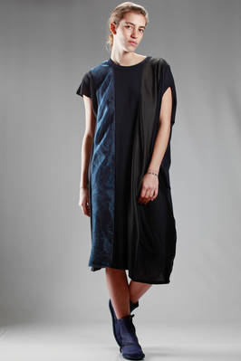 calf length dress in vertical cotton, cupro, polyester and silk patchwork  - 121