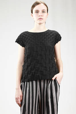 hip-length top in polyester and cotton jersey with squares sewn forehands and backhands  - 111
