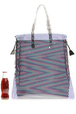 rectangular shopper bag of medium dimensions in PVC and optical cotton cloth  - 111