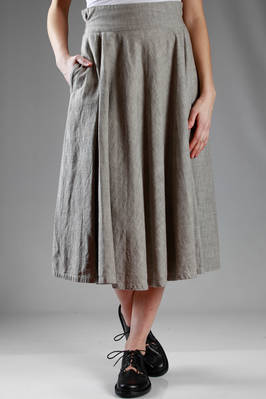 longuette skirt in washed cotton cloth with melange denim effect  - 97