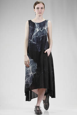 longuette dress in light rayon cloth with tye-dye effect  - 97