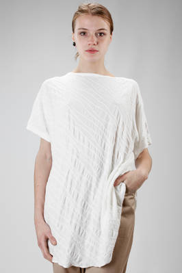 long t-shirt in cotton jersey worked with diagonal ribs  - 97