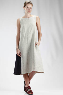 calf length wide dress in wrinkled linen cloth with contrastino color square  - 277