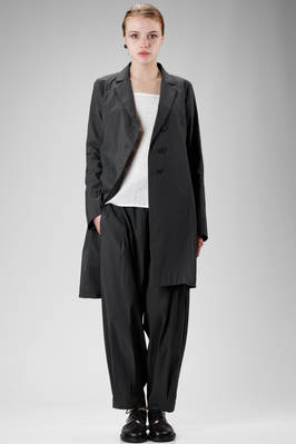 long and asymmetric jacket in light cotton stretch cloth, linen, polyamide and elastane  - 292