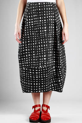 long skirt in cotton seersucker with painted bicolour network print  - 292