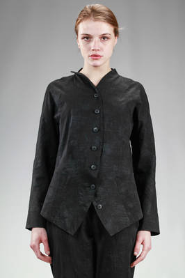 hip length jacket in light cotton cloth with tone on tone texture with 'burns' effect  - 292