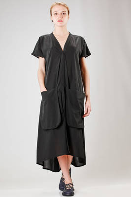 wide and long dress in wrinkled cotton muslin  - 292