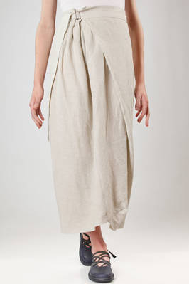 long skirt in cotton in linen cloth with moire weaving  - 292