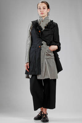 long and asymmetric jacket, bicoloured, all doubled: half in techno fabric of treated polyester and half in washed cotton cloth  - 157