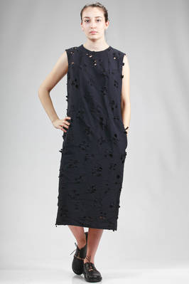 longuette sheath dress in light polyester cloth with small flowers laser carved  - 157