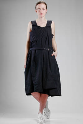 calf length dress, wide, in techno fabric of treated polyester  - 48