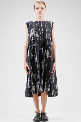 longuette dress, wide, in rexcell cloth with camouflage print with clouds effect  - 48