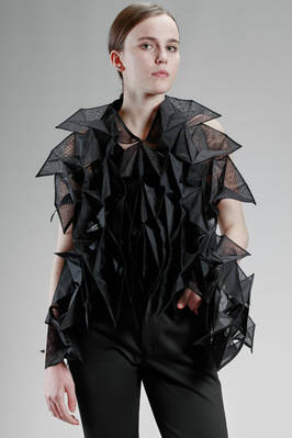 'sculpture' waistcoat with origami sewed pleats in nylon organdie  - 74