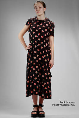 long dress in polyester georgette with small printed bouquets and inside in cotton jersey  - 74