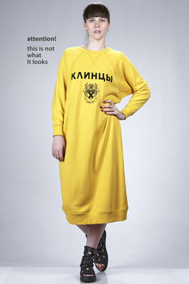 calf length dress, asymmetric in cotton plush with Cyrillic writing on the front  - 74