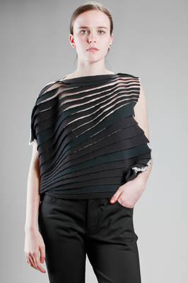 hip length asymmetric top made of horizontal polyester bands sewed on a nylon network  - 74