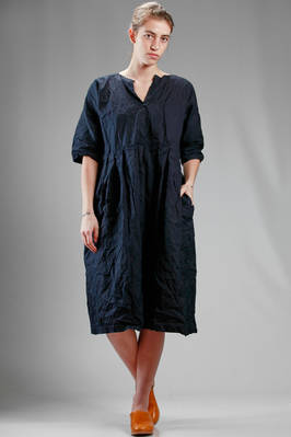 calf length dress in wrinkled and washed cotton cloth  - 195