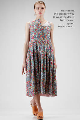 calf length dress, wide and doubled, in cotton gauze, cotton vichy and cotton liberty  - 195