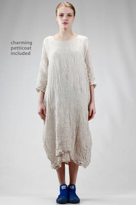 longuette dress in embossed and washed linen gauze  - 195