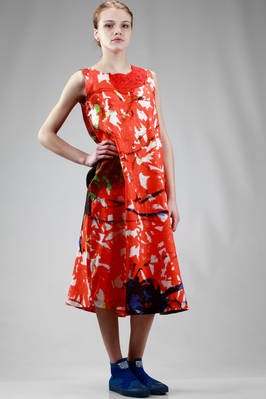calf length dress in linen cloth with brushstrokes and removable big embroidered collar in silk taffetas - DANIELA GREGIS