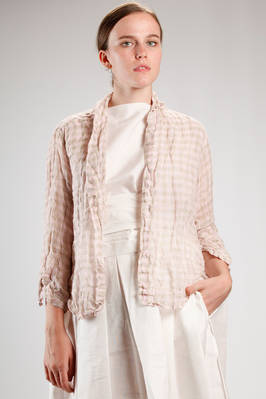 short slim fit shirt jacket in washed linen bicolour vichy gauze  - 195