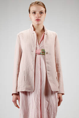 hip length jacket in embossed and iridescent linen cloth  - 195