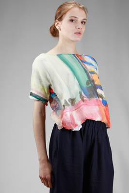 short top, all doubled: one side in painted and embossed silk voile and the other in solid colour cotton voile - DANIELA GREGIS