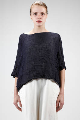 short and wide shirt in washed linen gauze  - 195