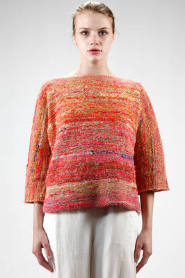 hip length knitted sweater in multicolor linen and cotton  - 195
