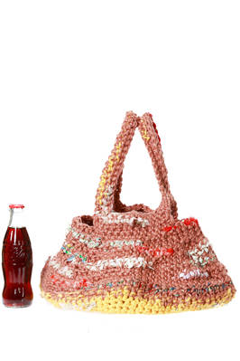 bucket shaped bag of medium dimensions crochet build with multicolor linen and cotton bands  - 195