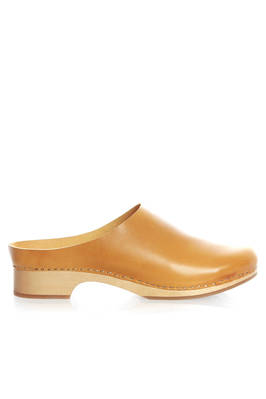 classic clog in wood with leather uppers  - 195