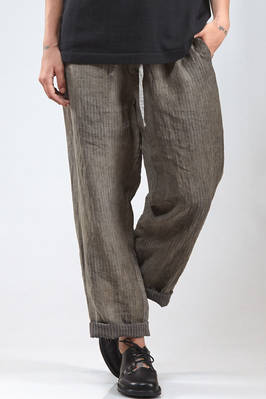 wide trousers in wrinkled and washed linen cloth with vertical shaded lines print  - 161