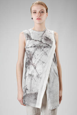 straight and long t-shirt in washed linen jersey with shaded ivy print  - 161