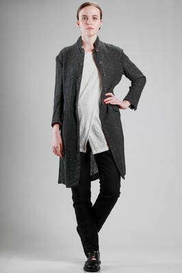long and waisted jacket in melange linen crêpe  - 161