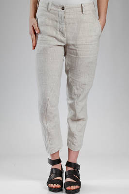 shaped trousers in washed linen cloth  - 161
