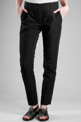 slim fit trousers in cotton and linen washed cloth  - 161