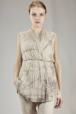 waistcoat in washed linen cloth with shaded ivy print  - 161