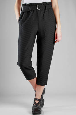 wide trousers in polyester cloth with diagonal tone on tone lines texture  - 47