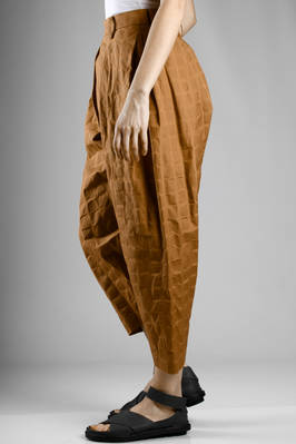 wide trousers in cotton cloth with tone on ton full and empty squares texture - ISSEY MIYAKE