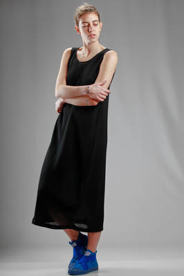 long dress in rayon and polyester crêpe with jacquard processing - SHU MORIYAMA