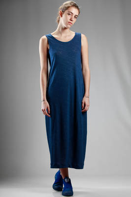 long dress in diagonal jersey of melange linen  - 123