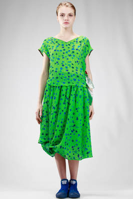 two piece dress in polyurethane and silk  crêpe with irregular polka dots print  - 333